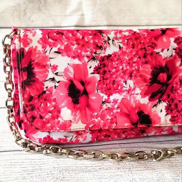 WHBM Dressy Pink Floral Print Chain Clutch